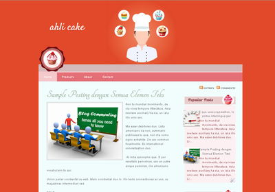 blogger template untuk blog bertema cake dan bakery
