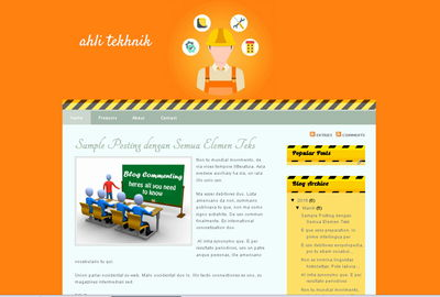 blogger template untuk blog bertema teknik