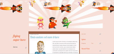 free template blogspot theme superhero cartoon