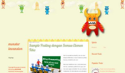 template blogspot bertema monster