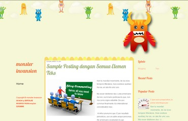 free blogspot template about monster, toon